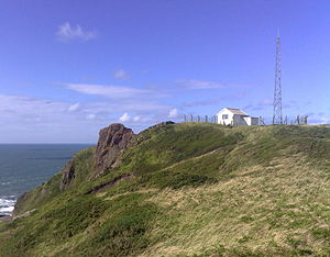 Hartland Point - The coastguard station higher on the top of the point