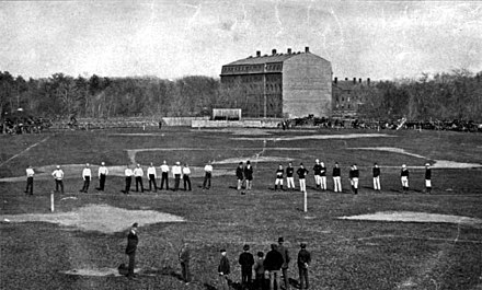 One of the Harvard v McGill games played in Cambridge, Mass, May 1874 HarvardMcGill.jpg