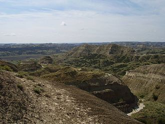"""Hell Creek Formation - View of Hell Creek State Park, the """"heart"""" of Hell Creek Formation."""