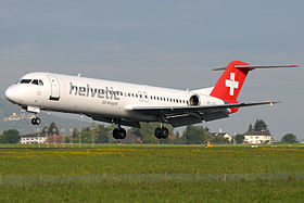 Helvetic Airways Fokker 100 HB-JVG landing in ZRH.jpg