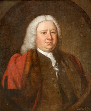 Yeotown, Goodleigh - Henry I Beavis,  Mayor of Barnstaple in 1738 and 1751, father of Col. Henry II Beavis of Yeotown, father-in-law of Robert Newton Incledon (1761-1846). Portrait by Thomas Hudson (1701–1779), Collection of Barnstaple Town Council, displayed in Barnstaple Guildhall
