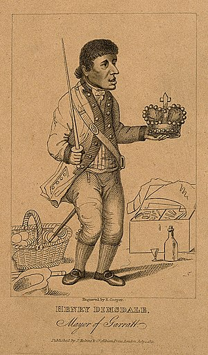 "Garrat Elections - ""Sir"" Harry Dimsdale, a muffin seller elected as the final Mayor of Garrat in 1796"