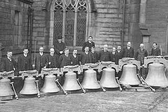 Heptonstall - Heptonstall new tower bells before being installed in the tower in 1912.