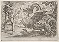 Hercules and the Serpent Ladon- Hercules draws his bow, the rearing serpent appears in profile, from the series 'The Labors of Hercules' MET DP832525.jpg