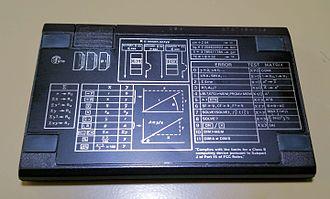 HP-15C - The rear side of a Hewlett Packard 15C.