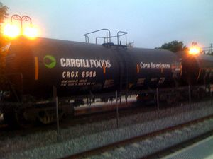 Railroad tank car transporting high fructose c...