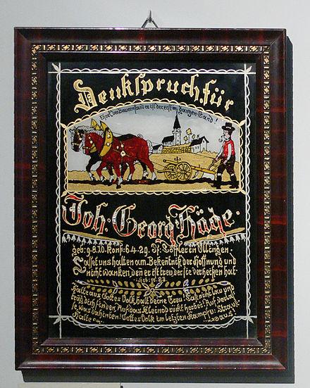 Hinterglasbild Mit Denkspruch Zur Erinnerung An Die Konfirmation, 1929
