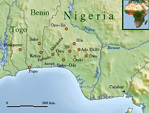 Panyarring - The main historical cities of the Yoruba coast with modern national boundaries.