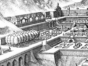 Hortus Palatinus - Detail of the multi-level terracing of the Hortus Palatinus, which required the 'toppling the peaks of the mountains' by Salomon de Caus.