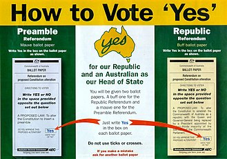 """1999 Australian republic referendum - How-to-vote card for the """"Yes"""" side."""