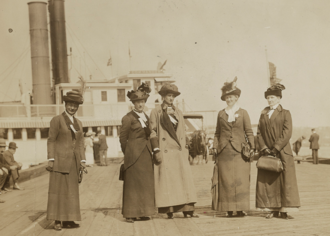 Anti-suffragism - US Anti-suffrage leaders, Mrs. George Phillips, Mrs. K.B. Lapham, Miss Burham, Mrs. Evertt P. Wheeler and Mrs. John A. Church at an anti-suffrage event on the Hudson River, May 30, 1913.