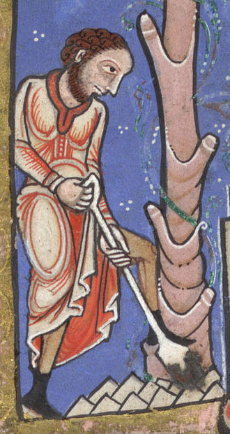 Economy of England in the Middle Ages - An English serf at work digging, c. 1170
