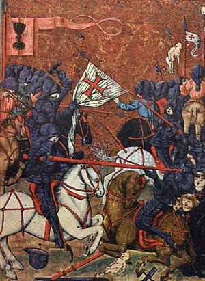 Battle between Protestant Hussites and Catholic crusaders during the Hussite Wars; Jena Codex, 15th century Husite - Jensky kodex.jpg