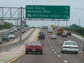 Interstate 275 (Florida) - I-275 just leaving Downtown Tampa heading south towards Tampa International Airport