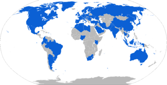 International Astronautical Federation - Map with countries hosting IAF members in blue