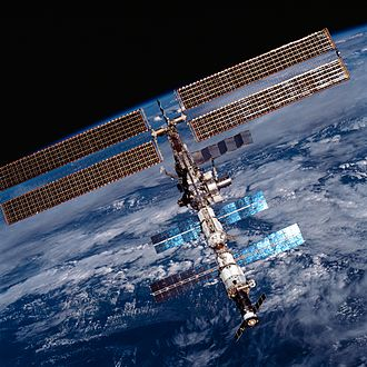 Orbital spaceflight - The International Space Station during its construction in Earth orbit in 2001. It must be periodically re-boosted to maintain its orbit