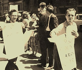 Sydney Push - Sydney Push associates Ian Parker (left) and Bob Gould in a 1960s pavement demonstration outside the Queen Victoria Building in Sydney. Parker was killed in the late 1970s; Gould, a notable bookseller, died in 2011.