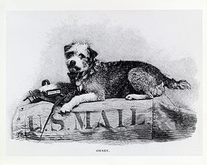 Owney (dog) - Owney on mail pouch