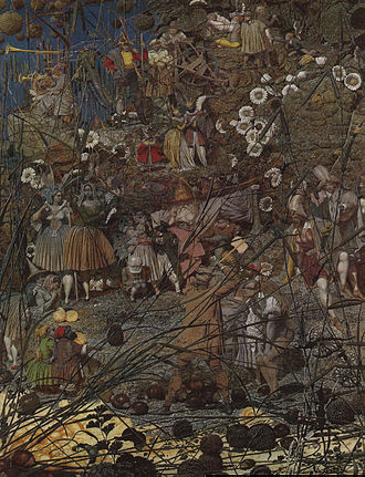Fairy painting - The Fairy Feller's Master-Stroke. Oil on cavas by Richard Dadd 1855-64.