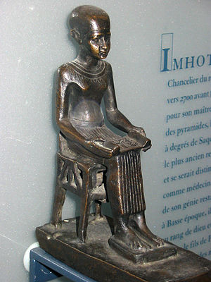 History of structural engineering - Statuette of Imhotep, in the Louvre, Paris, France