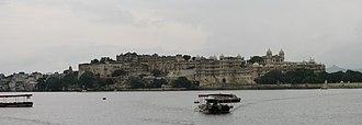 Udaipur - The City Palace alongside Lake Pichola.