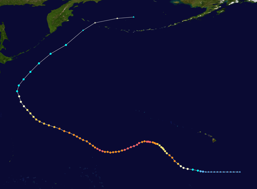 Storm track of Typhoon Ioke, showing recurvature off the Japanese coast in 2006 Ioke 2006 track.png