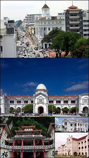 Ipoh - Clockwise from top: Jalan Tun Sambanthan within the Old Town, Railway Station, City Hall, St. Michael's Institution, Sam Poh Tong Cave Temple