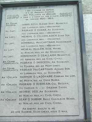 Bantry - Irish War of Independence commemorative plaque
