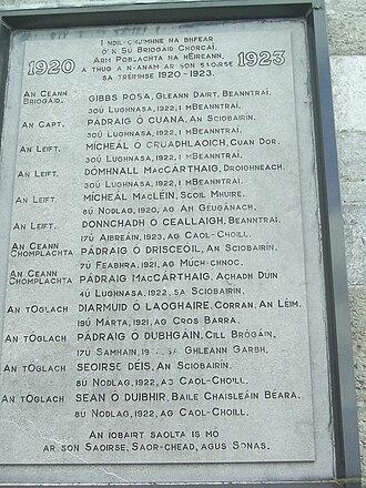 Bantry - Irish War of Independence commemorative plaque