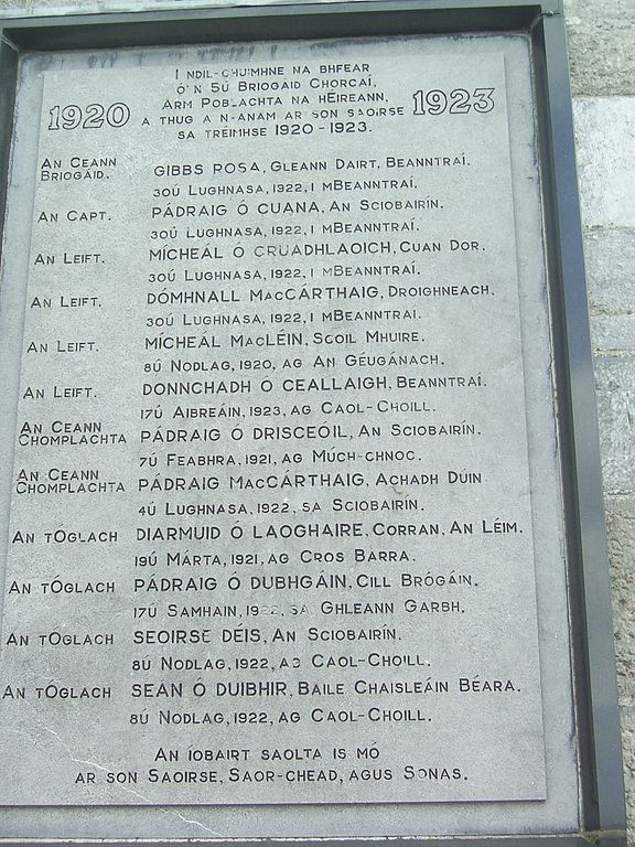 "Names of those who died ""In Defense of the Republic"" between 1920 and 1923 are listed in Wolfe Tone Square, Bantry, Ireland"