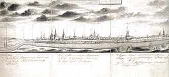 Great Northern Expedition - View of Irkutsk. Pencil drawing from 1735.