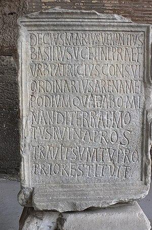 Decius Marius Venantius Basilius - Image: Iscrizione restauro Colosseo