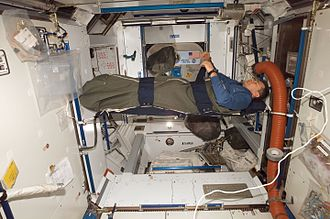Sleep in space - An astronaut asleep in the microgravity of Earth orbit-continual free-fall around the earth, inside the pressurized module Harmony node of the International Space Station in 2007