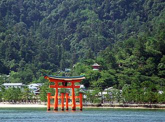 JR Miyajima Ferry - View of torii of Itsukushima Shrine from ferry