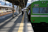 JR Nara Line JNR 103 series local at Kyoto Station track 9.jpg