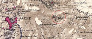 Al-Ja'una - Al-Ja'una in a map of the Palestine Exploration Fund, 1880