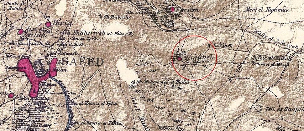 Jaauneh - Rosh Pina - PEF map 1880