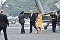Japanse premier Shinzo Abe en VS-president Donald J. Trump aan boord van de Japanse helikoptercarrier Kaga in Yokosuka, -28 mei 2019 b.jpg