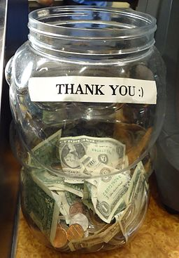 Jar for tips at a restaurant in New Jersey