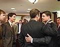 Jay Trumbell, Jay Fant, and Chris Sprowls line up to hug Speaker Steve Crisafulli.jpg