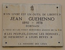 Commemoration plaque in Paris (5th arr.), 35-37 rue Pierre Nicole, where Jean Guéhenno lived for twenty years, until his death.