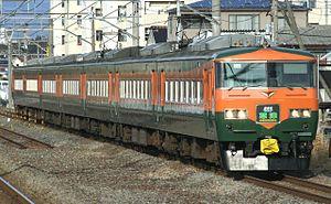 Kusatsu (train) - Repainted set OM03 on a Kusatsu service, January 2012