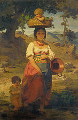 An Italian Woman with Children by a Stream