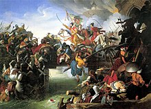 Men waving sabers on horseback charge across a bridge, surrounded by figures struggling in hand-to-hand combat
