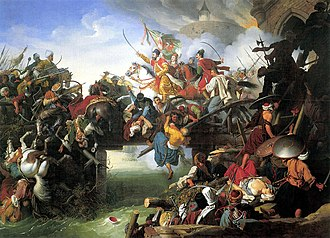 Pyrrhic victory - Final charge from the fortress of Szigetvár (painting by Johann Peter Krafft, 1825)
