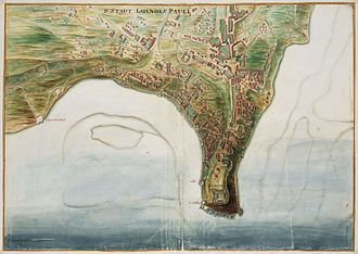 Luanda - A map of Luanda in the early 1700s.