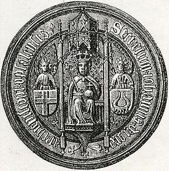 Jöns Bengtsson Oxenstierna - Seal of Archbishop Jöns Bengtsson, displaying the arms of the Archdiocese of Uppsala (left) and the Oxenstierna family (right)