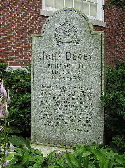 Grave of Dewey and his wife in an alcove on the north side of the Ira Allen Chapel in Burlington, Vermont. The only grave on the University of Vermont campus John Dewey Grave.JPG