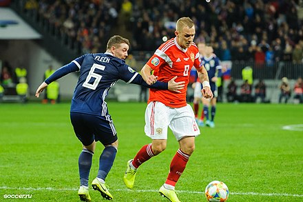 Scotland national football team in competition against Russia, 2019