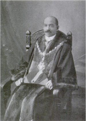 John Archer (British politician) - John R. Archer, Mayor of Battersea in his ceremonial robes, 1914